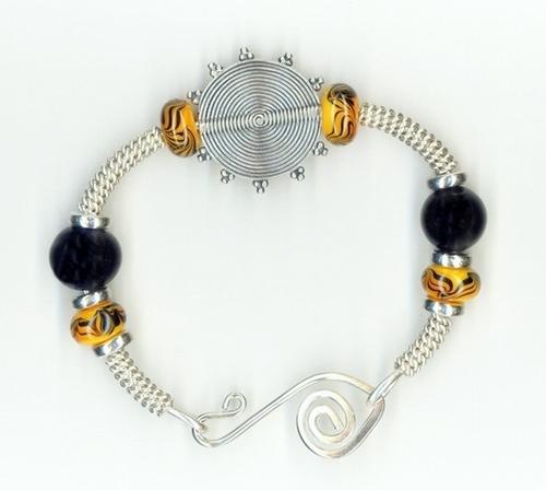 bangle bracelet with yellow u0026 black lampwork glass beads