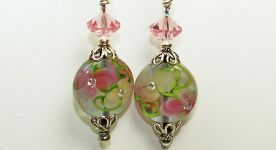 In the Garden Lampwork Bead and Crystal Earrings