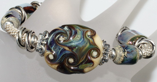 River's Swirls~ Chunky Lampwork Bead Bangle Bracelet with Silver