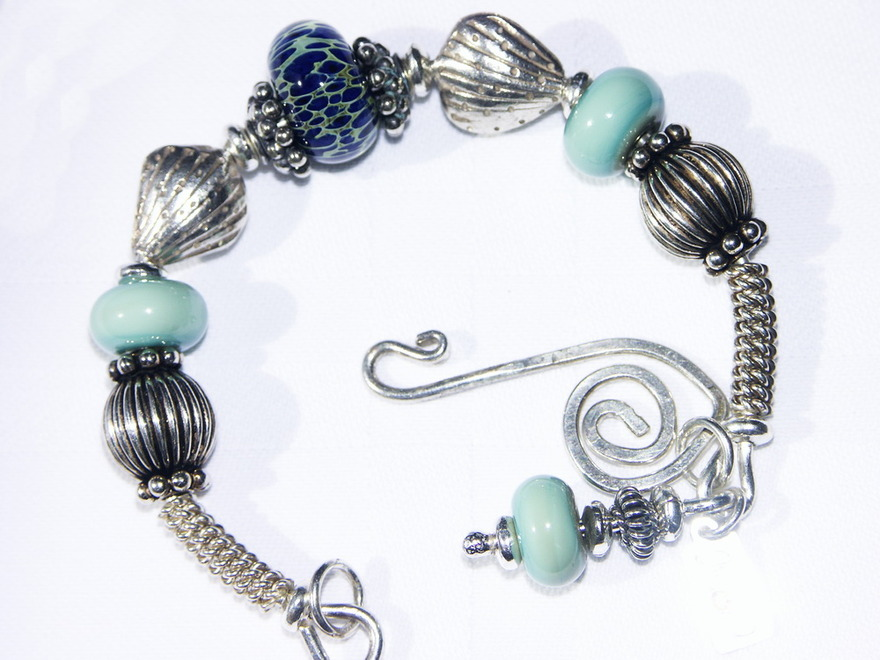 SeaShells By the SeaShore Bangle Bracelet ~ Chunky Sterling Silver and Lampwork Bead