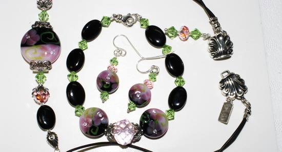 Victorian Dreams~ Lampwork Beaded Set with Crystals and Silver