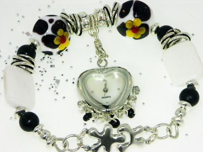 """MooTime"" Lampwork Beaded Bangle Bracelet Watch"