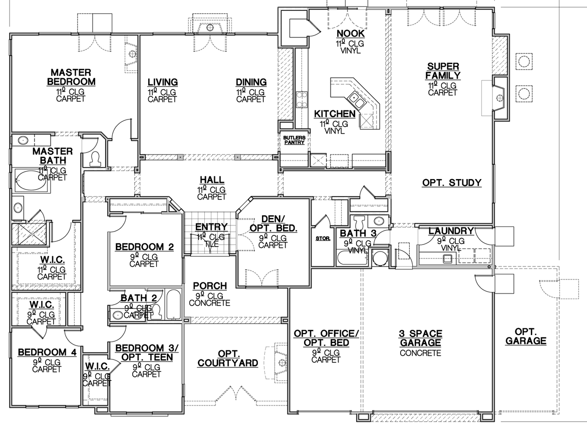 California ranch house plans house design plans for Standard homes plans
