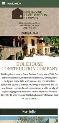 Holehouse Construction - New Mobile Website Homepage
