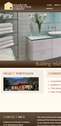 Holehouse Construction - Old Mobile Website Homepage