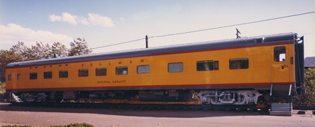 A historical picture of a train car by the historical Miramar Rail Station.