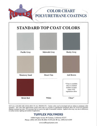 Tufflex Urethane Waterproofing Systems Color Chart