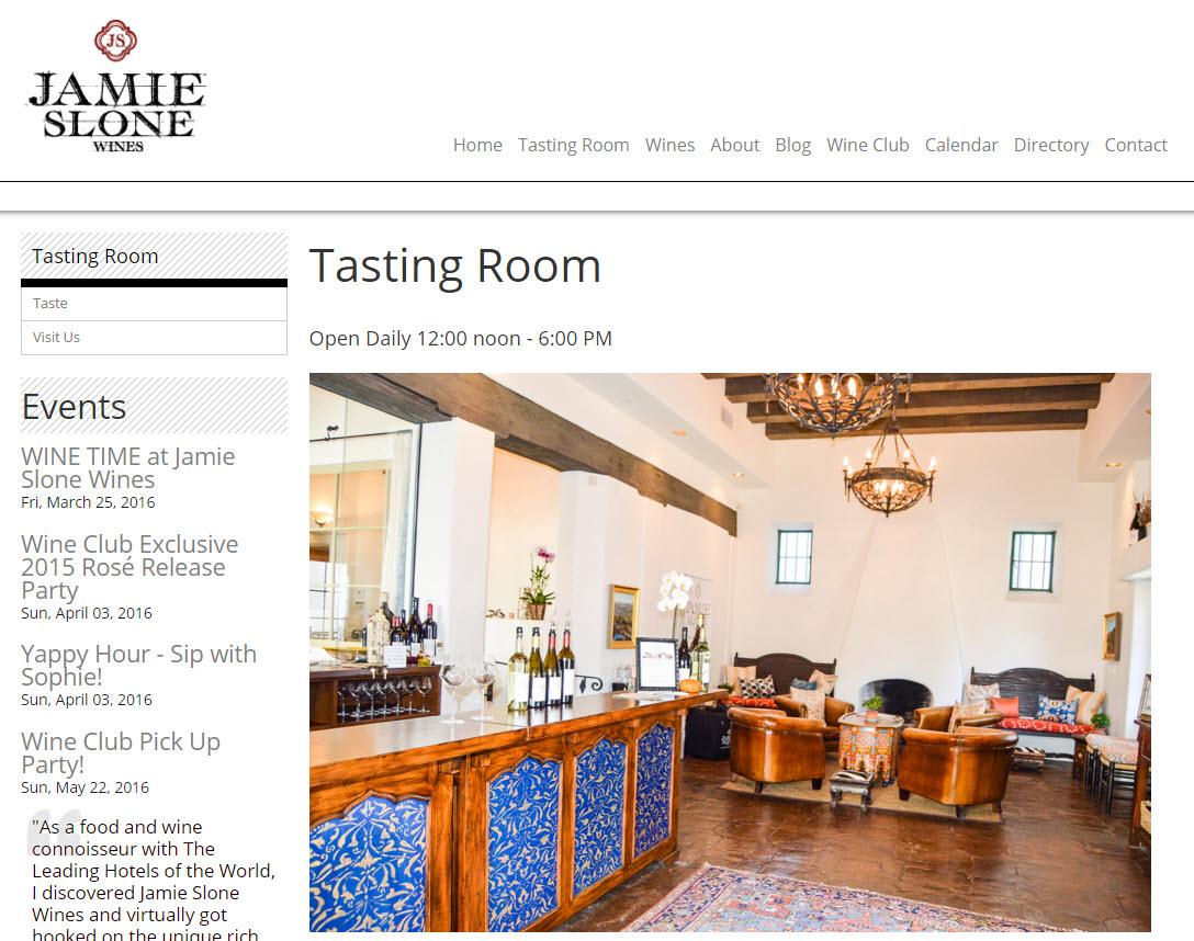 Jamie Slone Wines - Santa Barbara Tasting Room - Ameravant Web Design