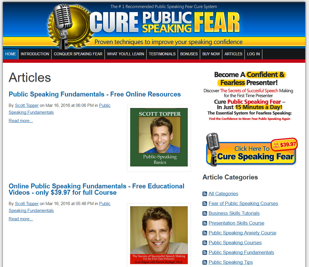 Cure Public Speaking Fear - Author - Scott Topper