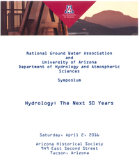 NGWA and University of Arizona Symposium - Hydrology: The Next 50 Years