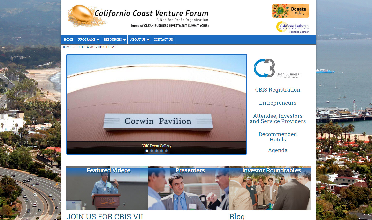 Clean Business Investment Summit - California Coast Venture Forum