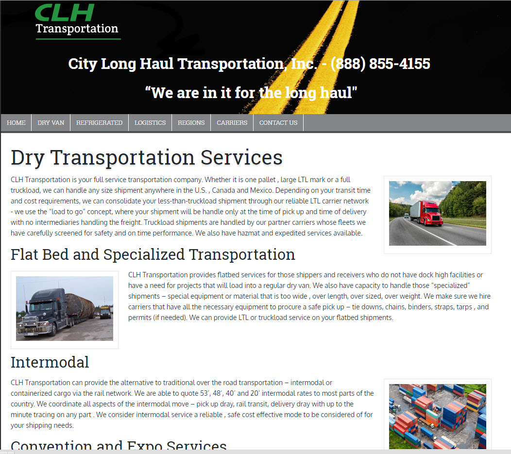 Dry Refrigerated LTL Full Truck Load Transportation and Logistics - City Long Haul Trasportation