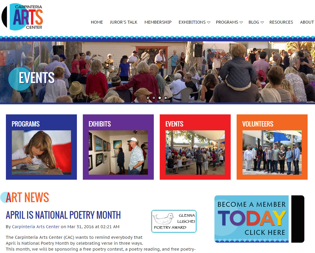 Capinteria Arts Center homepage