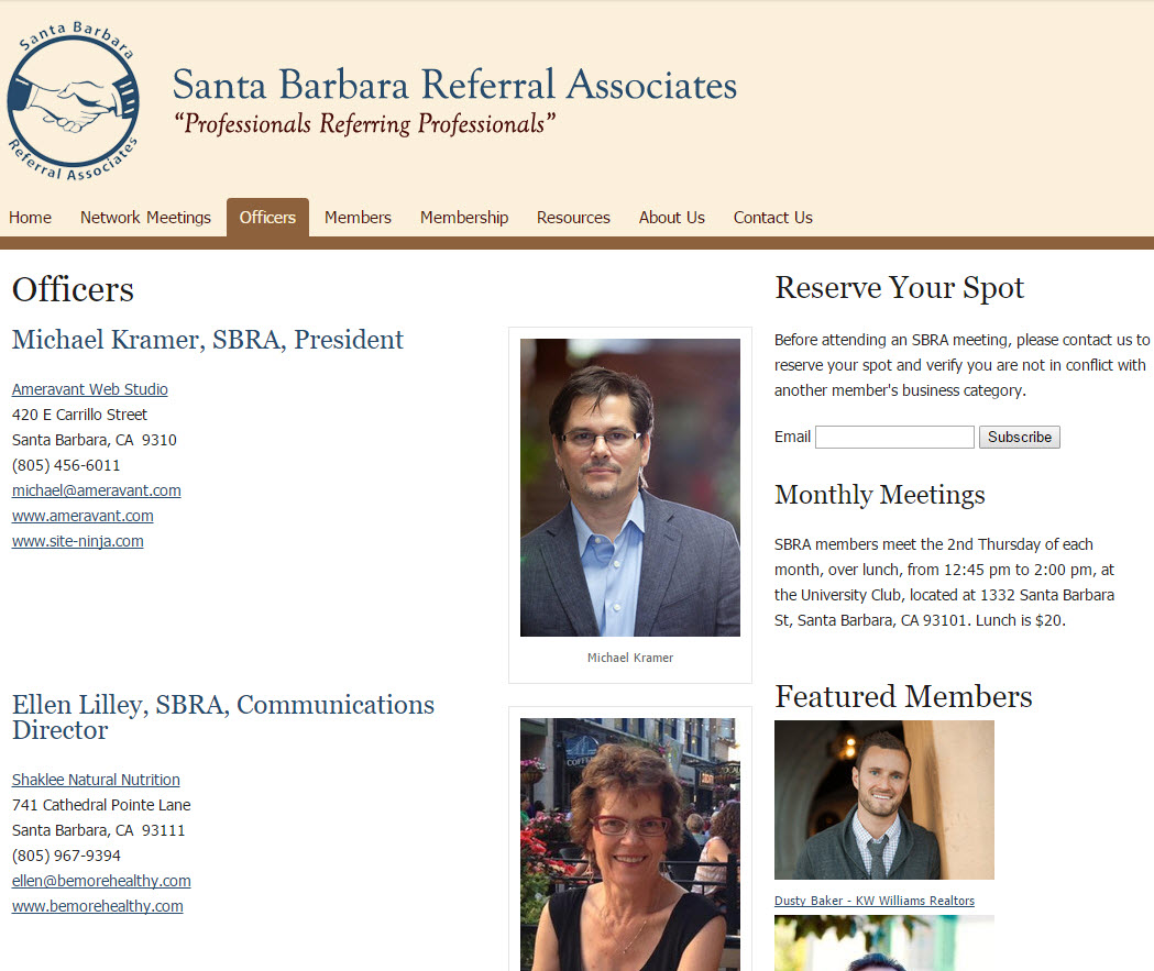 Santa Barbara Referral Associates - Member Page