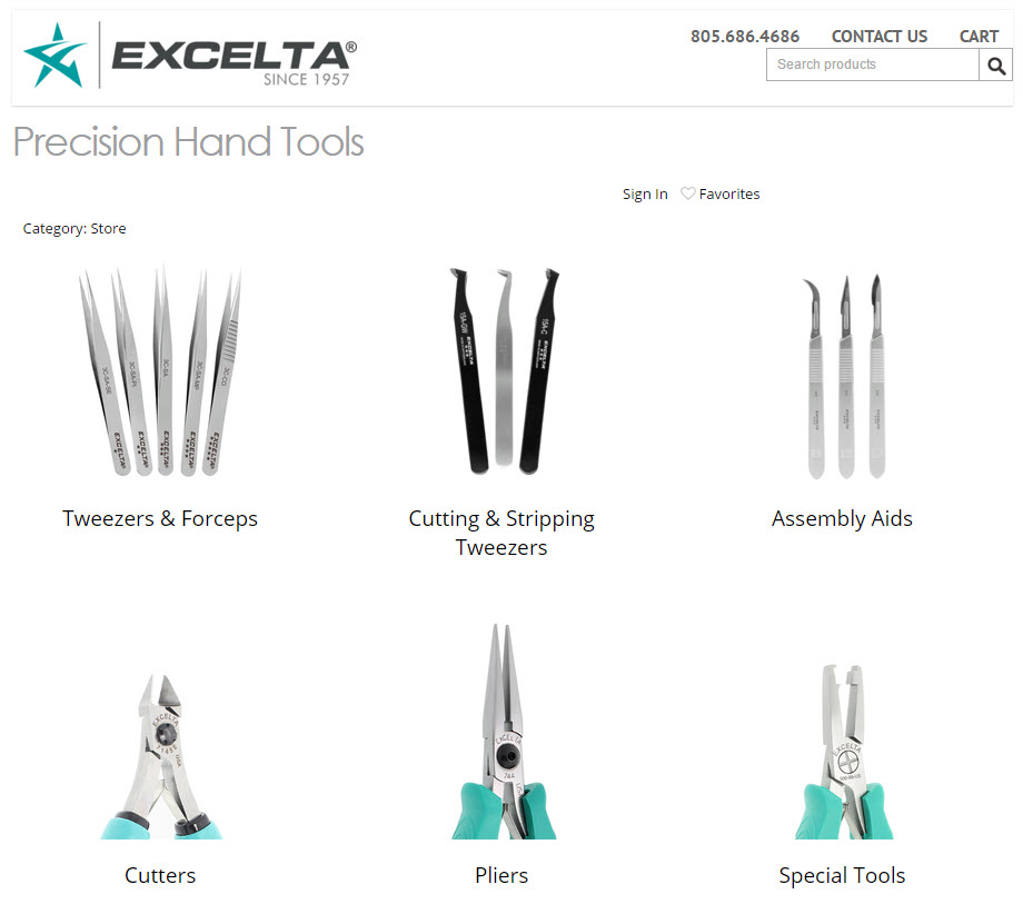 Excelta Corporation - Shopping Cart Category Page