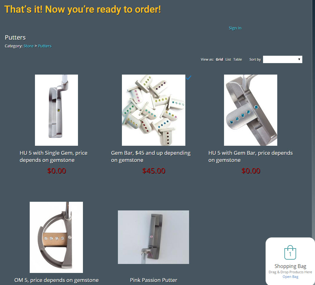 Gemspot Putters - Shopping Cart Page