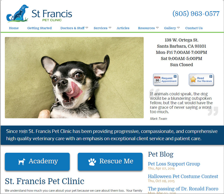 Pet Clinic - St. Francis Pet Clinic | Santa Barbara CA