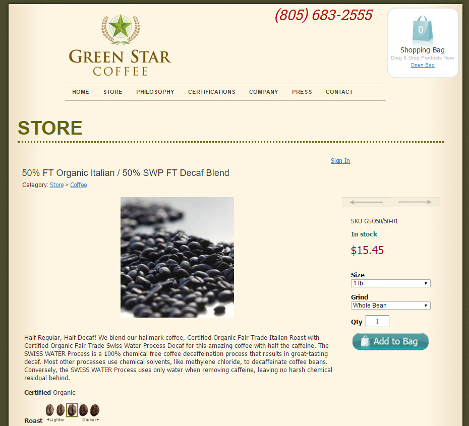 Green Star Coffee Shopping Cart Product Page