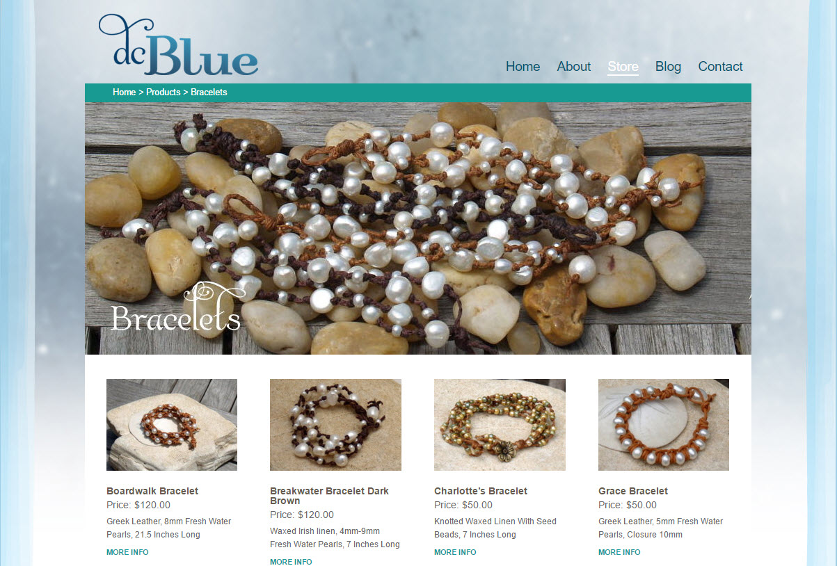DC Blue Jewelry - shopping cart category page