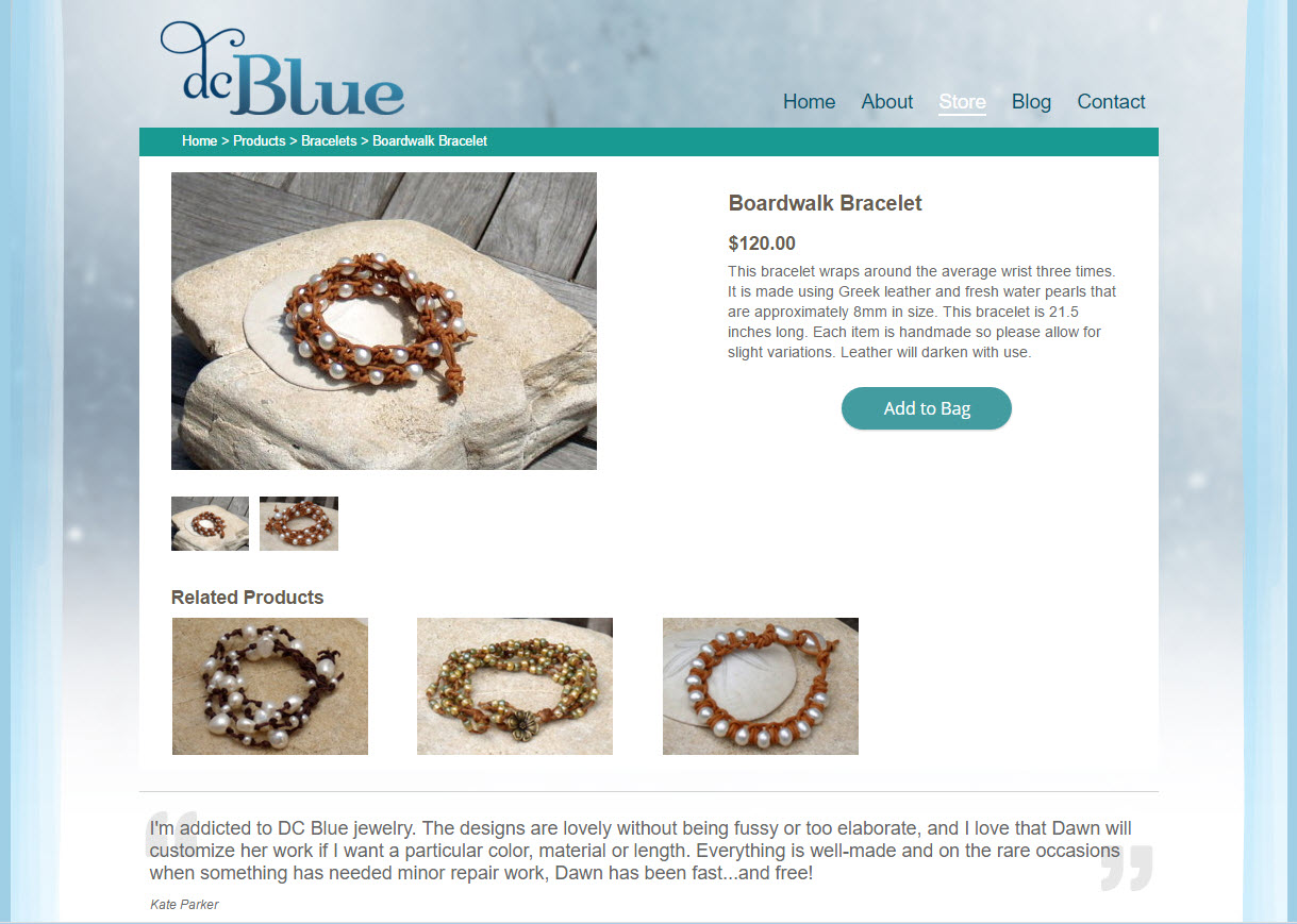 DC Blue Jewelry - shopping cart product page