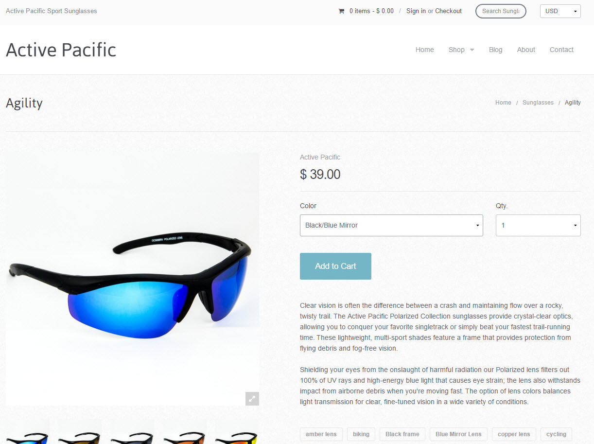 Active Pacific | Active Pacific Sport Sunglasses - Items