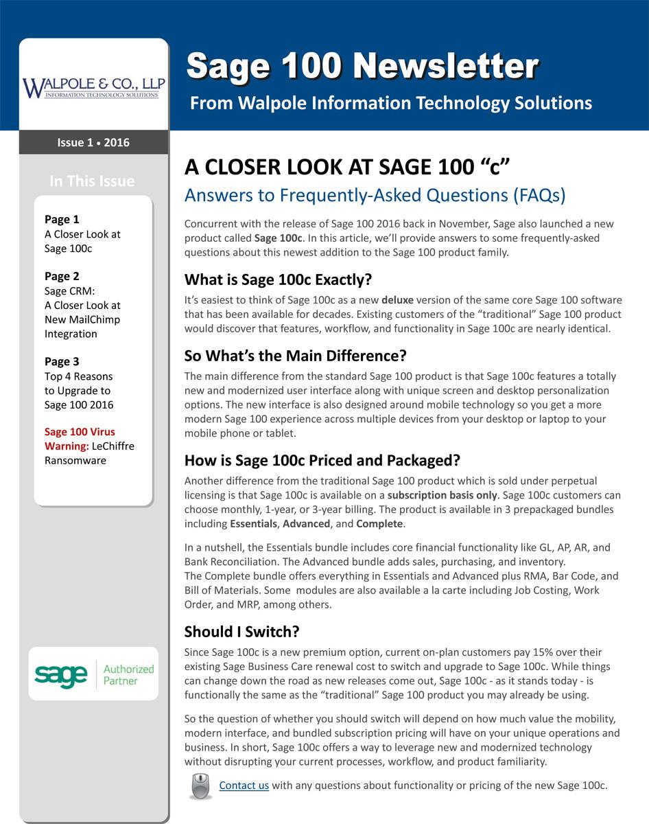 February Sage 100 Newsletter