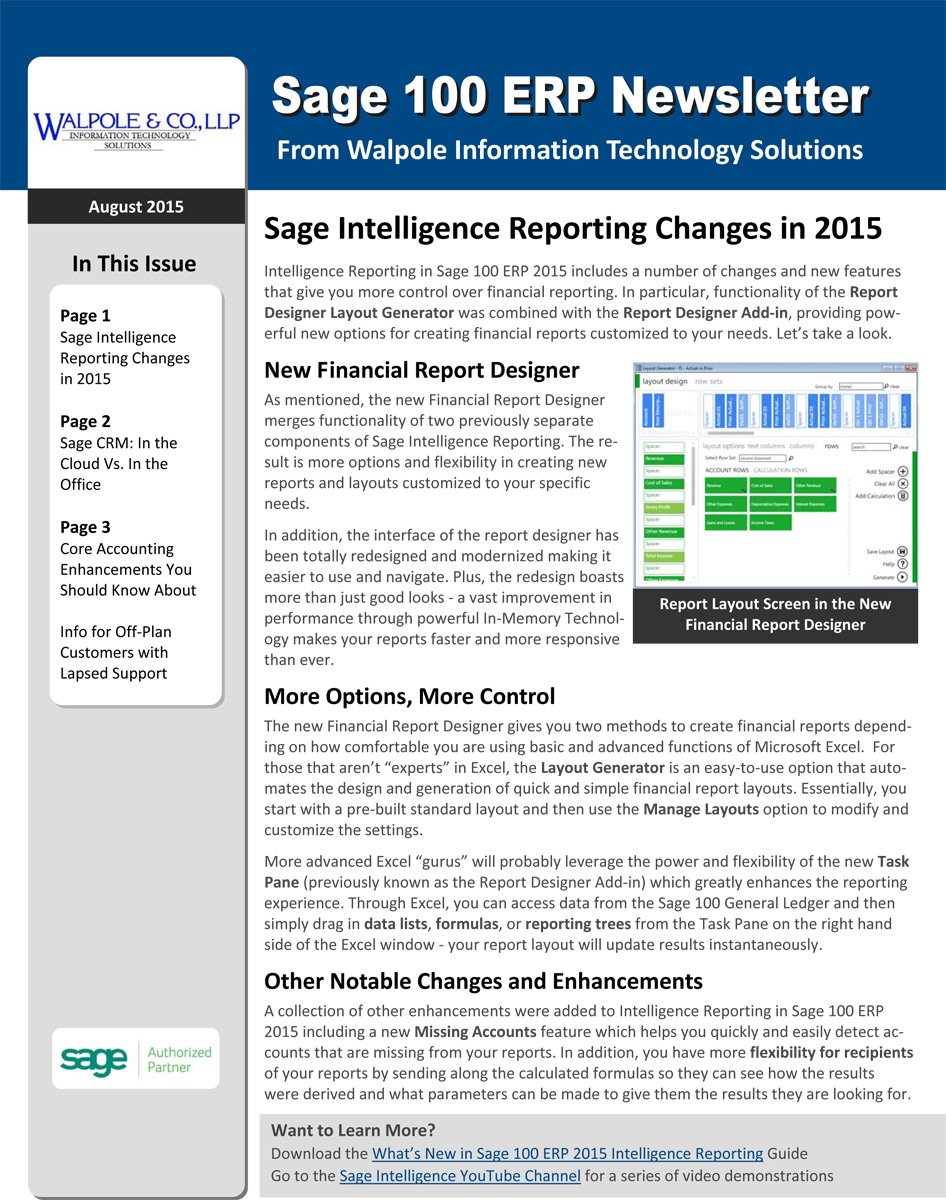 Sage 100 Newsletter - July/August 2015