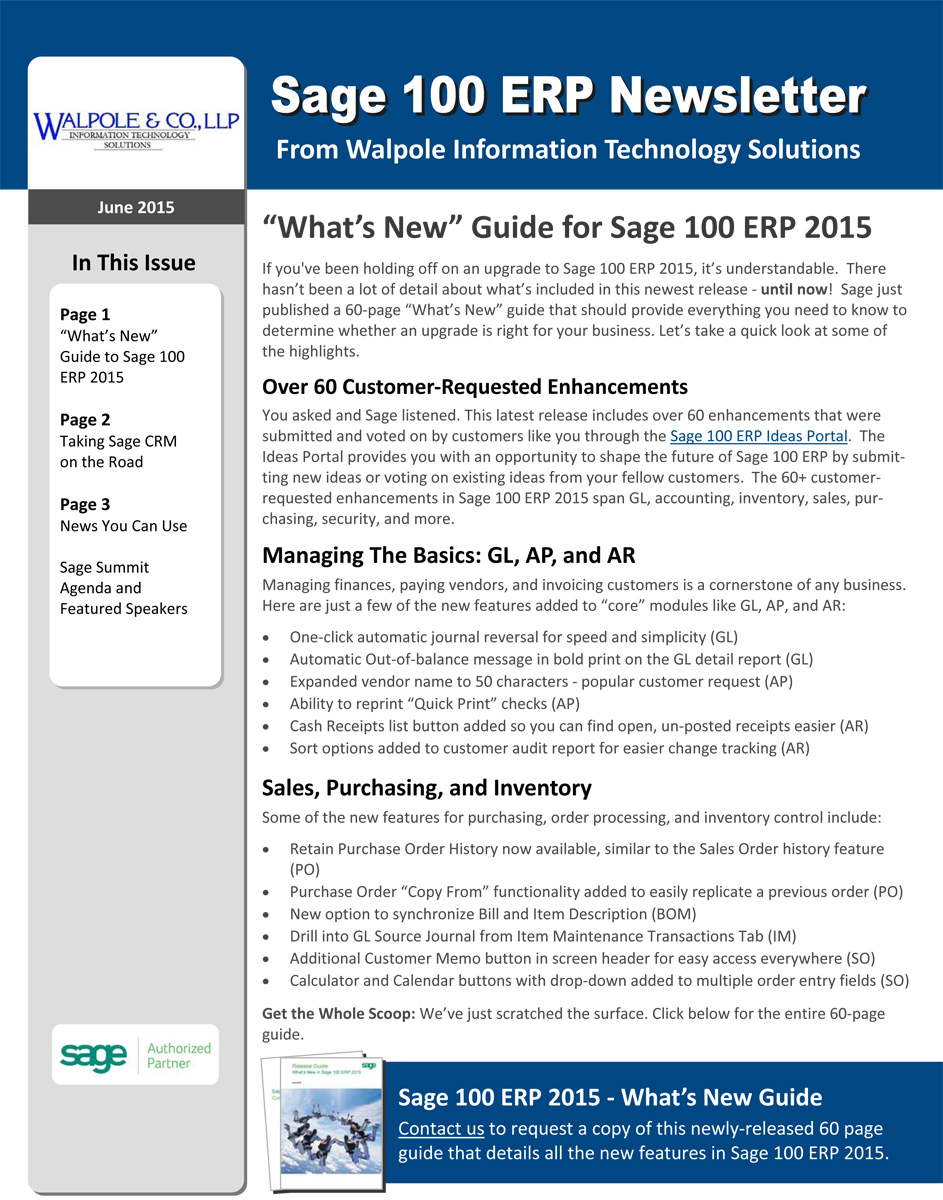 100 Sage Newsletter - June 2015
