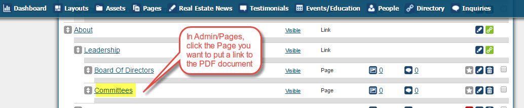 In Admin-Pages, click the Page you want to put a link to the PDF document