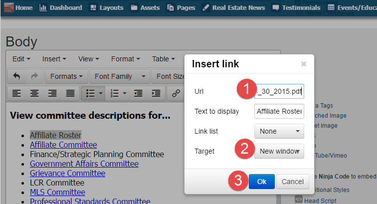 Paste the URL you copied from ASSETS into the URL Field