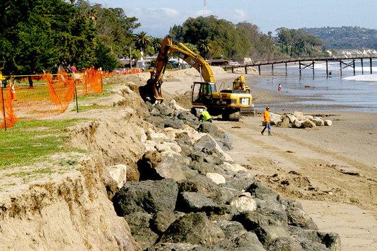 County Builds Up Rock Revetment at Goleta Beach Park