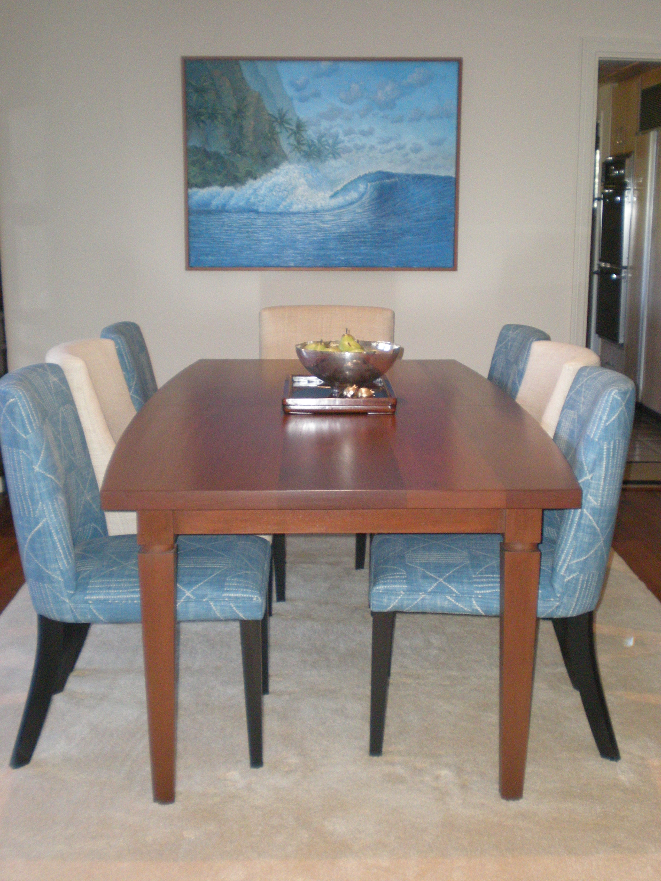 Boat Shaped Dining Table in Solid Walnut with Two Leaves