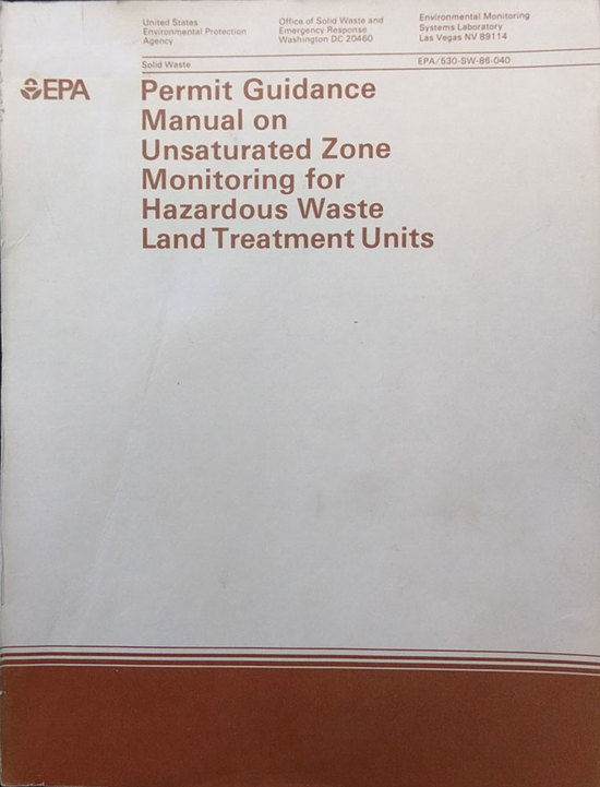 LGE 1986 Permit Guidance Manual Unsaturated Zone Monitoring Hazardous Waste Land Treatment Units