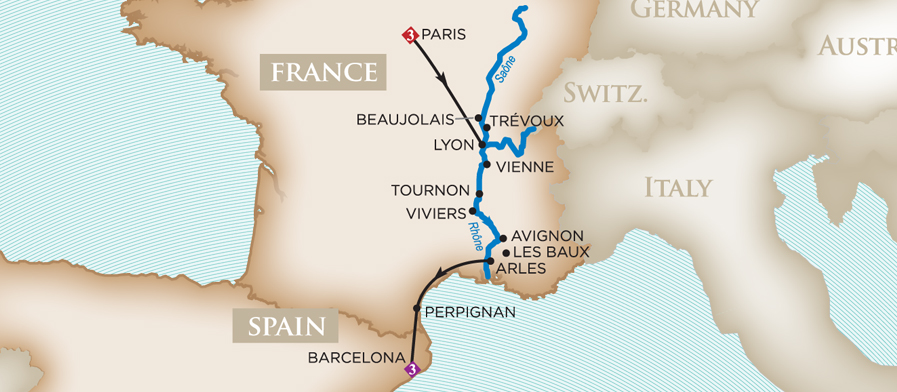 Wine River Cruise with Jamie & Kym Slone from Lyon to Arles: Paris, Rhone Valley, Barcelona