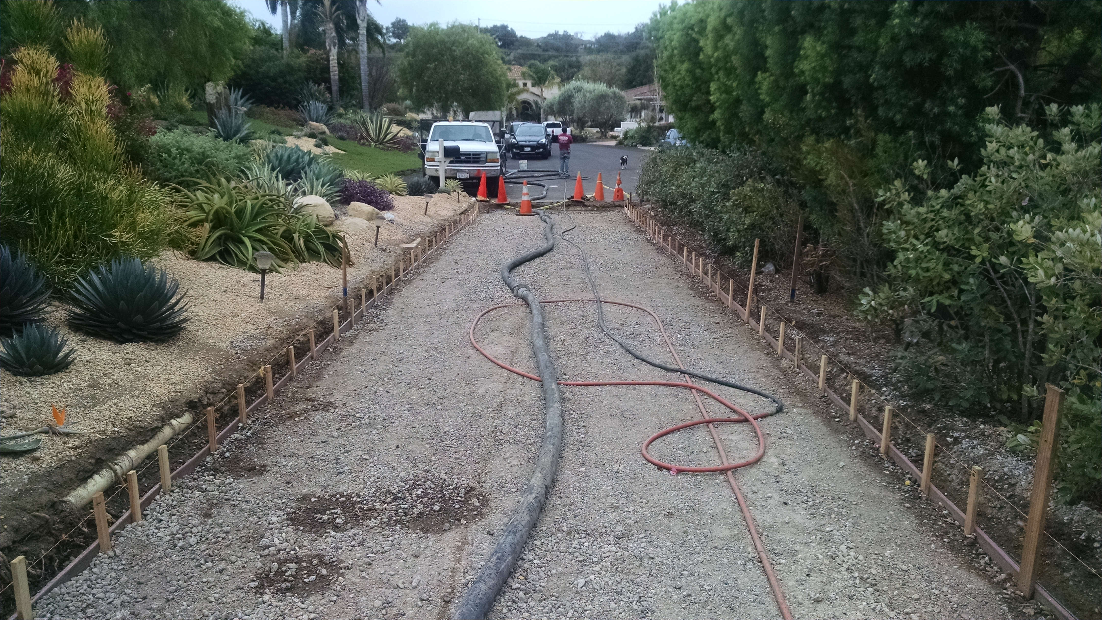 Permeable Cobble Pavers: Formed Edges, About To Pour