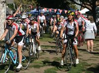 Danish cyclists roll into Solvang after pedaling from San Francisco