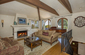 Living Room with Fireplace, High Wood-Beamed Ceilings