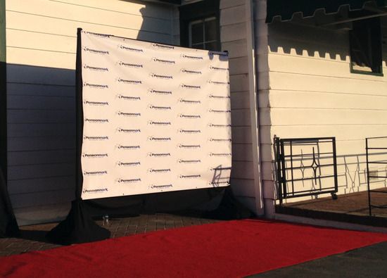 Step and repeat with red carpet
