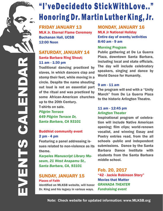 Friday 1/13 - Beginning Martin Luther King Jr. Week Events