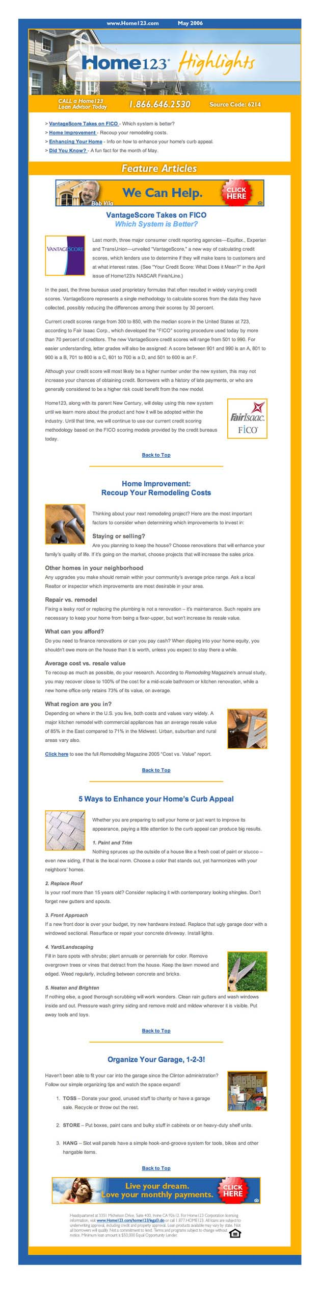 Home123 Mortgage E-newsletter content May 2006