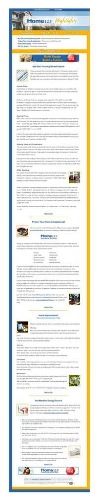 Home123 Mortgage E-newsletter content June 2006