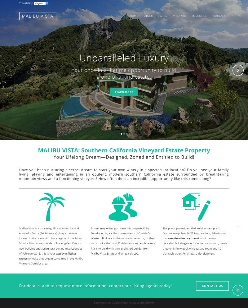 Malibu Vista Vineyard Estate - Home page