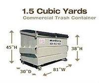 Commercial Trash Container - 1.5 Cubic Yards
