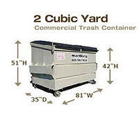 Commercial Trash Containers - 2 Cubic Yards