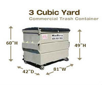 Commercial Trash Containers - 3 Cubic Yards