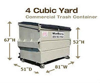 Commercial Trash Containers - 4 Cubic Yards