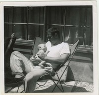 American Abstract Painter James Jarvaise and Child