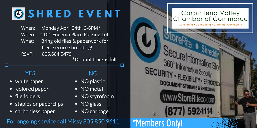 Business Shred Event sponsored by: StoreRite Shredding & Storage