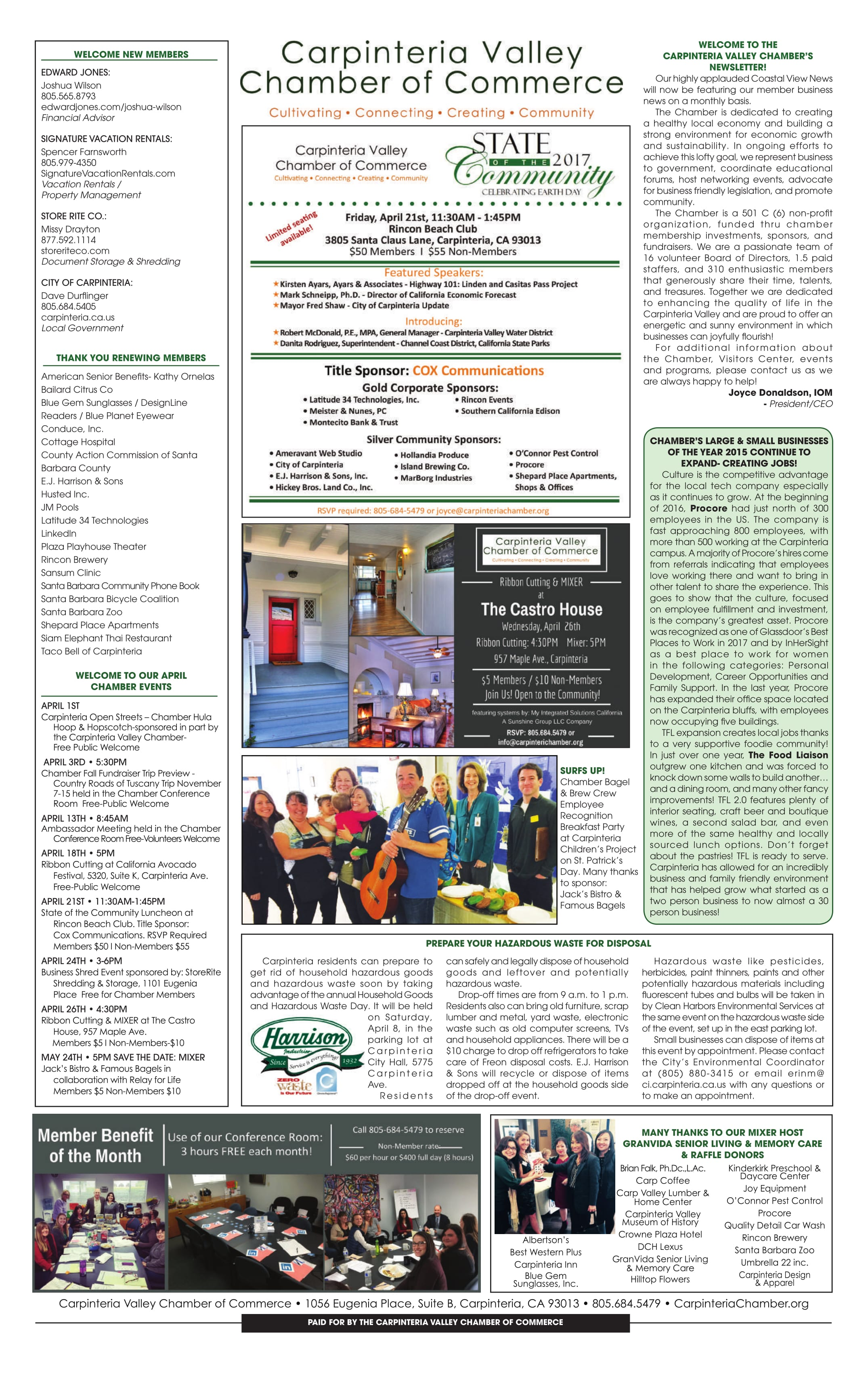 Coastal View News Chamber Newsletter - March 27, 2017