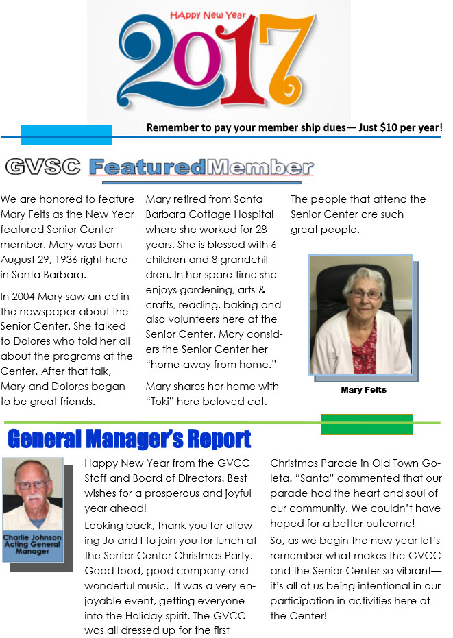 Goleta Valley Community Center Newsletter 1st Quarter 2017